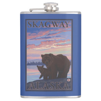 Bear and Cub - Skagway, Alaska Hip Flask