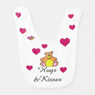 Bear and hearts on a bib. baby bibs