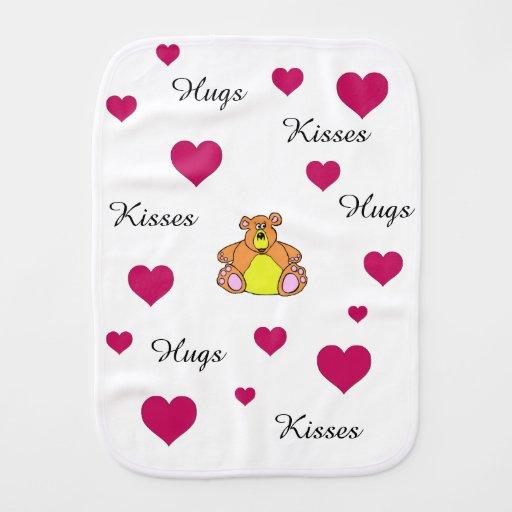 Bear and hearts burp cloth