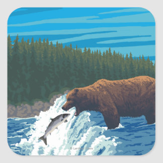 Bear Fishing in River - Chilkoot River, Alaska Square Sticker