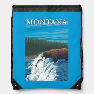Bear Fishing in River - Montana Drawstring Bag