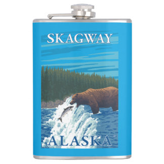 Bear Fishing in River - Skagway, Alaska Hip Flask