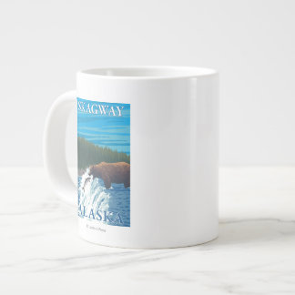 Bear Fishing in River - Skagway, Alaska Large Coffee Mug