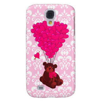 Bear & heart balloons on pink damask galaxy s4 case