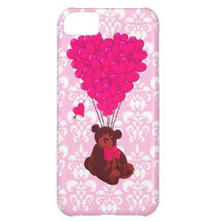 Bear & heart balloons on pink damask iPhone 5C case