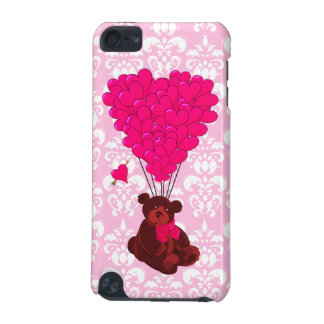 Bear & heart balloons on pink damask iPod touch 5G case