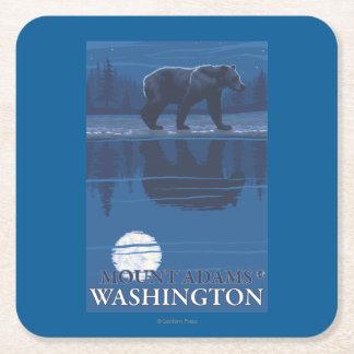 Bear in Moonlight - Mount Adams, Washington Square Paper Coaster