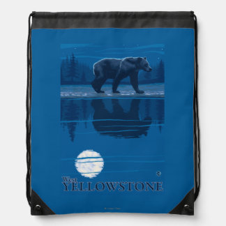 Bear in Moonlight - West Yellowstone, Montana Drawstring Bag