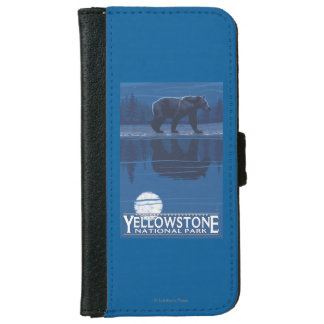 Bear in Moonlight - Yellowstone National Park iPhone 6 Wallet Case
