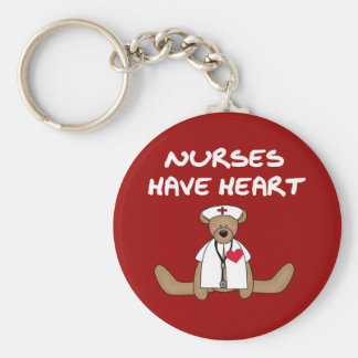 Bear Nurses Have Heart T-shirts and Gifts Basic Round Button Key Ring