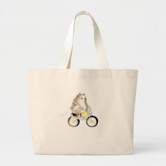 bear on bike large tote bag
