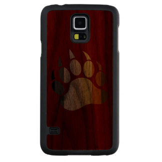 Bear Paw Bear Pride Colors Carved Walnut Galaxy S5 Case