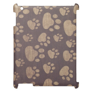 bear paws on wood background case for the iPad