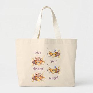Bear Planes & Butterflies Pixel Art Large Tote Bag