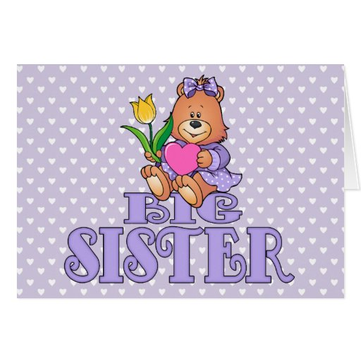 Bear with Heart Big Sister Greeting Card