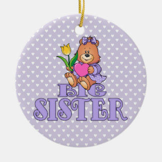 Bear with Heart Big Sister Round Ceramic Decoration
