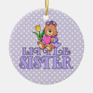 Bear with Heart Little Sister Round Ceramic Decoration
