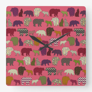 bear wolf geo party pink square wall clock