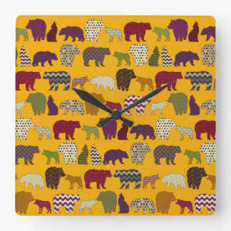 bear wolf geo party yellow square wall clock
