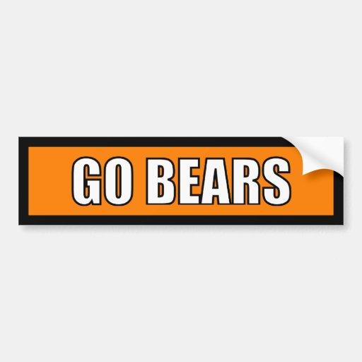 Bears - Black Orange White Bumper Stickers