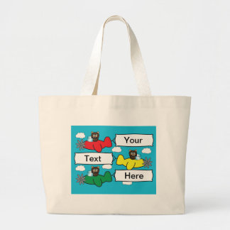 Bears Flying Planes Large Tote Bag