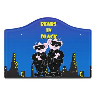 BEARS IN BLACK CARTOON  Crest Small Room Sign Door Sign