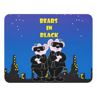 BEARS IN BLACK CARTOON  Modern Room Sign Door Sign