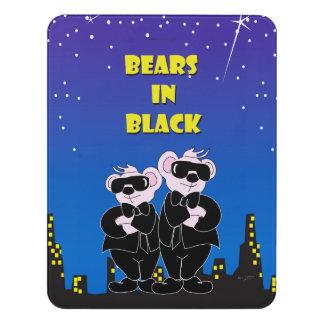 BEARS IN BLACK CARTOON  Modern Room Sign Vertical Door Sign