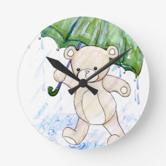 Beary wet teddy wall clocks