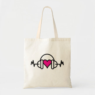Beats of Love | Pink heart with pulse & headphone Tote Bag