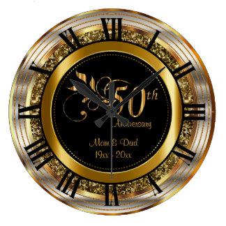 Beautiful 50th Golden Anniversary Wall Clock