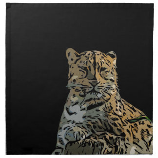 Beautiful Abstract Tiger Black Background Napkin