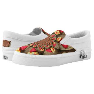 Beautiful Amazing red strawberry kaleidoscope girl Slip On Shoes