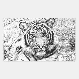 Beautiful and Majestic Bengal Tiger Custom Sketch Rectangle Sticker
