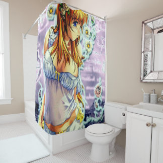 Beautiful Anime Girl With Flowers Shower Curtain