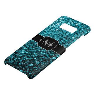 Beautiful Aqua blue glitter sparkles Monogram Case-Mate Samsung Galaxy S8 Case