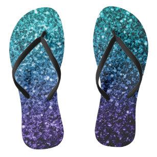 Beautiful Aqua blue Ombre glitter sparkles Jandals