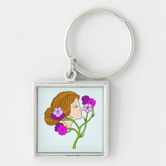Beautiful Art Nouveau lady with flowers Silver-Colored Square Key Ring