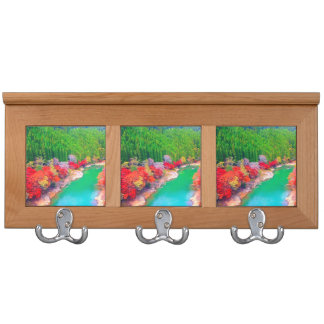 Beautiful autumn forest at the rivers   coast coat racks
