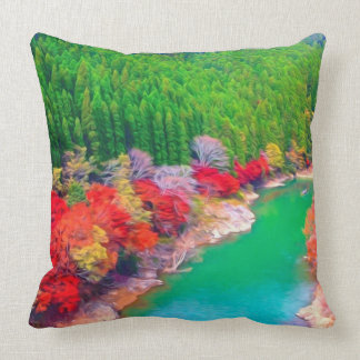 Beautiful autumn forest at the rivers coast throw pillow