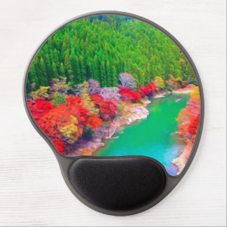 Beautiful autumn forest at the rivers coast gel mouse mats