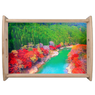 Beautiful autumn forest at the rivers coast serving trays