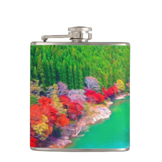 Beautiful autumn forest at the rivers coast hip flasks