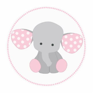 Beautiful Baby Girl Pink Elephant Photo Sculpture Key Ring