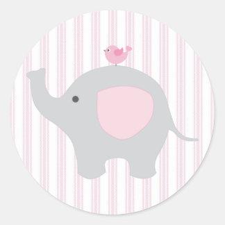 Beautiful Baby Girl Pink Elephant Round Sticker