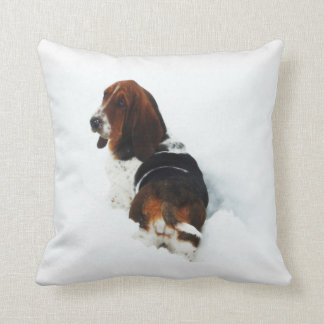 Beautiful Basset Hound in the Snow Throw Pillow
