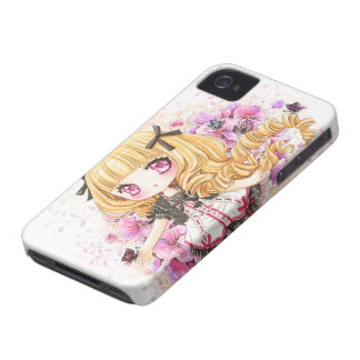 Beautiful blond anime girl with pink poppies Case-Mate iPhone 4 case