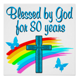 BEAUTIFUL BLUE 80TH BIRTHDAY CHRISTIAN DESIGN