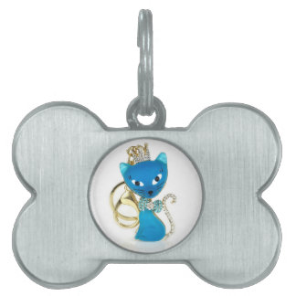 Beautiful blue cat design pet ID tag