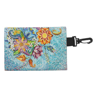 Beautiful Blue Flower Abstract Accessory Bag